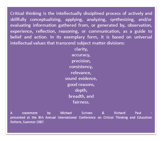 34th international conference on critical thinking and education reform Defining critical thinking - the critical thinking presented at the 8th annual international conference on critical thinking and education reform,.